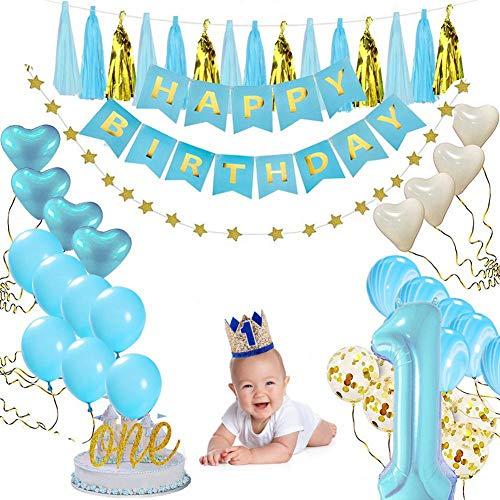 AOLVO First Birthday Dekorationsset für Mädchen/Jungen, 38-teilig 1. Geburtstag Party Dekorationen/Happy Birthday Banner/Konfetti Ballon/Kuchen Topper/Geburtstagshut / Bänder (Maske Happy Baby)