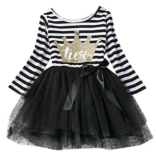 gs Kleinkind Baby Mädchen Ist es Mein 1./2./3. Geburtstags Gestreiften Tüll Tütü Prinzessin Kleid mit Bowknot Partykleid Fotoshooting Outfits Kostüm Schwarz (Kostüme Mit Einem Schwarzen Tutu)