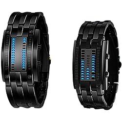 Highdas Waterproof High-Grade Tungsten Steel Couple Double LED Binary Watch