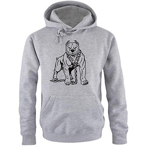Comedy Shirts - PITBULL - Uomo Hoodie cappuccio sweater - taglia S-XXL different colors grigio / nero