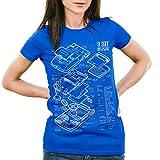 style3 8 Bit Handheld Blaupause Damen T-Shirt Videospiel, Farbe:Blau;Größe:XL