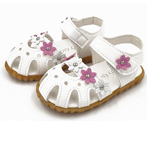 kingko® Bequeme Kind Art und Weise Beiläufige Sommer flache Blüten weiche untere Mädchen Sandelholz Schuhe Weiß Ut0nub