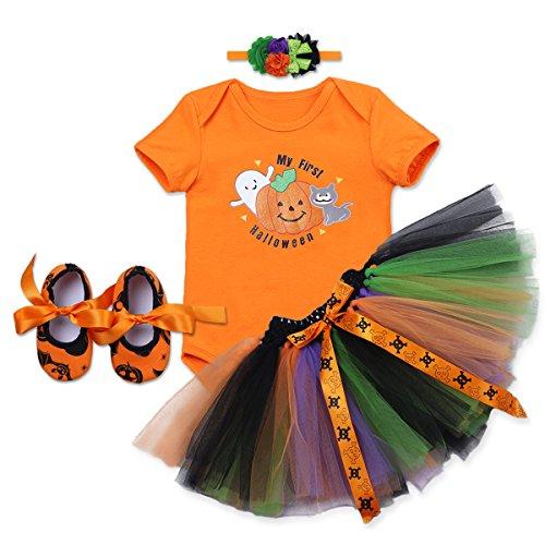 OBEEII Baby Mädchen 1. Halloween Kostüm Kürbis Schädel Strampler Rüschen Tutu Rock mit Stirnband Schuhe Weihnachten Allerheiligen Cosplay Partei Kleid für Neugeborene Kleinkind 3-18 ()