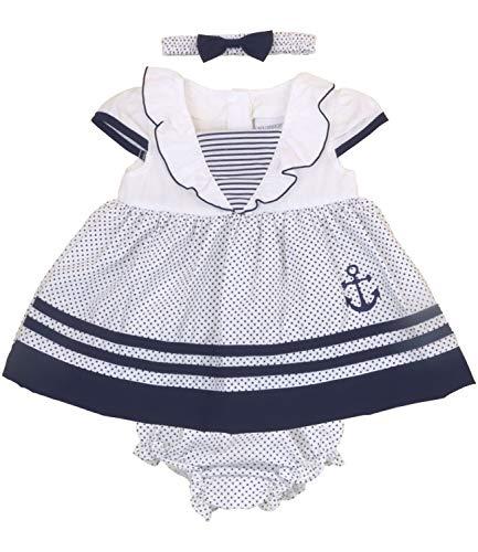 BabyPrem Baby Matrosenkleid 3-teiliges Set Dunkelblau 80-86cm 12-18 Monate