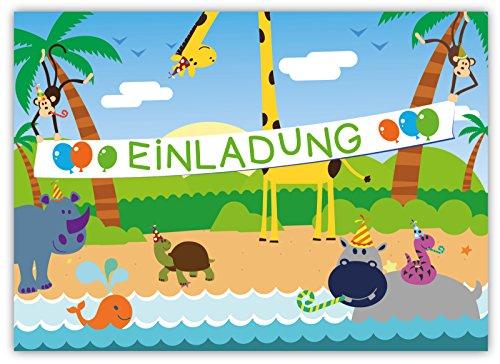 Preisvergleich Produktbild 12 Lustige Einladungskarten Set Kindergeburtstag Dschungel PartyLöwe Tiger Affe Giraffe Papagei Schlange Nilpferd witzig Safari Urwald Tiere Zoo