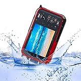 KOBWA - Fotocamera digitale HD subacquea da 24 MP, Full HD 1080P, impermeabile, con obiettivo zoom e doppio schermo per autoscatto (colore blu)