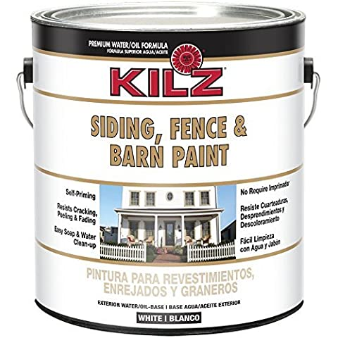 KILZ Exterior Siding, Fence, and Barn Paint, White, 1-gallon by Kilz