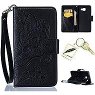 Silikonsoftshell PU Hülle für Galaxy A5 (2016) A510 (5,2 Zoll) Tasche Schutz Hülle Case Cover Etui Strass Schutz schutzhülle Bumper Schale Silicone case(+Exquisite key chain X1) #AP