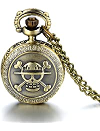 JewelryWe Reloj de bolsillo de bronce envejecido, diseño de calavera, cadena de 80 cm