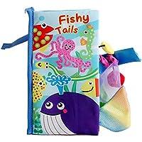 Dreamsdox Libro de Tela de Cola Animal Libro de Pañales Libros de Desarrollo de Inteligencia Aprendizaje Temprano Juguetes Educativos Regalo Ideal para niños y niñas (Fishy Tails)