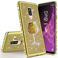 Mylne for Samsung Galaxy S9 Plus Glitter Case,Creative Flowing Sand Wine Cup Design Bling Diamond Soft Gel TPU Silicone Electroplating Protective Bling Case Cover