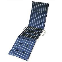 KMH®, Auflage Für Relaxliege + Deckchair ( Marineblau / Mit Gelben Streifen  ) (