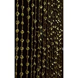 Pindia Fancy Kite Sparkling Plastic Strings Bead Hanging Curtain - 7ft, Golden