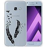 Galaxy A3 2017 Cover , ZXLZKQ Super Mince Transparent Housse Noir De Plumes Swallows Soft TPU Case Etui Silicone Coque pour Samsung Galaxy A3 2017 (non applicable Galaxy A3 2016)