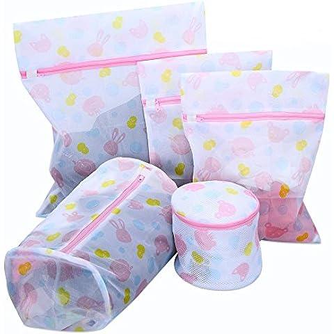 Lavar la ropa bolsas del conjunto de 5 Hogares de malla para prendas delicadas de la ropa interior de lavandería Bolsa con cierre de cremallera Perfecto para el sujetador, calcetines, medias, ropa de bebé y juguetes de peluche
