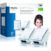 devolo dLAN 500 duo Powerline Starter Kit (500 Mbps, 2 x PLC Homeplug  Adapter, 2 x LAN Ports, Compact Design, Internet Signal Booster, Ethernet Access Over Power Line, Power Save Technology) - White