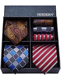 HISDERN Lot 3 PCS Classique elegant Pour des hommes Ensemble de cravate en soie Cravate & Carre de poche - Ensembles multiples