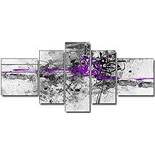 DekoArte 24 - Cuadro moderno abstracto, lienzo de 5 piezas, 180 x 85 cm, color morado