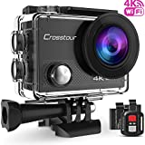 Crosstour 4K 16MP Wifi Ultra HD Action Camera Waterproof Sports Cam Remote Control 98ft Underwater 2 Inch LCD Plus 2 Rechargeable Batteries 20 Accessories for Skiing, Snorkeling, Swimming and Cycling