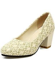 LDMB Zapatos de tacón alto redonda de las mujeres Zapatos de tacón medio de cómodo de malla de alta calidad , beige , 37