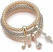 YouBella Stylish Party Wear Jewellery Gold Plated Charm Bracelet for Women (Golden)(YBBN_91538)