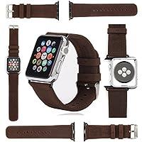 Cinturino in vera pelle per Apple Watch serie 1e 2iWatch Strap 42mm realizzata a mano in morbida pelle molto di alta qualità Vintage inclusa Connector nera in una scatola regalo–Coin Keeper - Serie 2 Coin