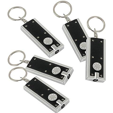 5 Pcs Mini Linterna Llavero con Luz LED Blanca con Llavero de rectangular Negro