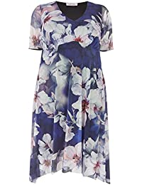 dbc097ee983 Yours Clothing Women s Plus Size London Floral Midi Dress with Hanky Hem