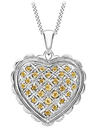 Carissima Gold 18ct White Gold Citrine Heart Pendant on Adjustable Curb Chain Necklace of 46 cm/18 inch