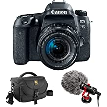 Canon EOS 77D DSLR Camera With 18-55mm Lens With Boya By-MM1 Shotgun Video Microphone And Journey 34 DSLR Shoulder Bag (Black)