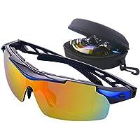 Gafas de Ciclismo Unisex Gafas de Sol de Deportivas Bici Polarizadas 5 Lentes Intercambiables para Hombre y Mujer Deporte Bicicleta Ciclismo Montaña MTB Conducir Pesca Ski Esquiar Golf Correr (Azul)