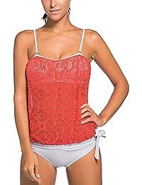 Minetom Bañador Tankini De Dos Piezas Mujer Bikini Top Shorts Verano Elegante Cómodo Beach Swimwear Sujetador De Estilo Halter