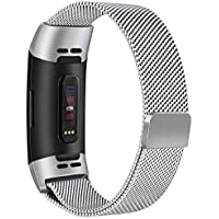 Tobfit Armband kompatibel mit Fitbit Charge 3, Milanese Edelstahl Verstellbare Ersatz Armbänder mit Magnetverschluss für Fitbit Charge 3 Damen Herren