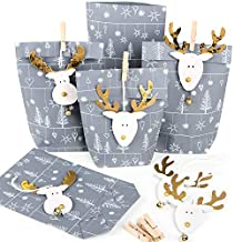 Små julklappar förpackning papperspåsar grå silver vit + julpynt HirsCH ren guld natur för kunder anställda 5 Stück silber grau weiß