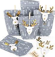 Små julklappar förpackning papperspåsar grå silver vit + julpynt HirsCH ren guld natur för kunder anställda 5