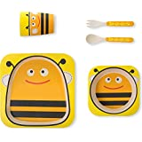 Smartcraft Bamboo 5 Piece Dinner Set - Bee (Yellow), Bamboo Fiber Kids Dinner & Picnic Set