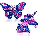 SafeHaven Tie Dye Pop it Unicorn and Butterfly Pop it   Sensory Toys for Autism   Butterfly and Unicorn Poppet Fidget Toy   P