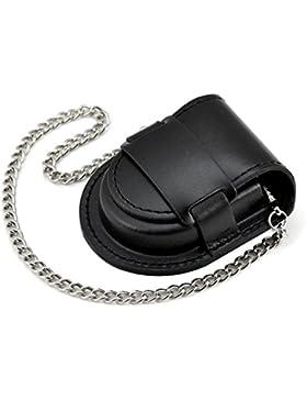 XLORDX Luxus Herren Schwarz Leder Tasche mit lang Kette für Taschenuhren