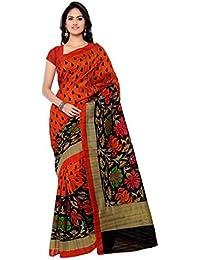 Saree ( Women's Orange Bhagalpuri Silk Saree With Blouse Pices )