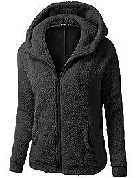 Blusa polar Collar mandarín de Mujer, LILICAT Ropa de abrigo Cuello de Cremallera Manga larga Invierno cálido (L, Negro con Capucha)