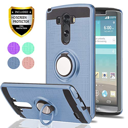 LG G3Handy Fall mit HD Handy Displayschutzfolie, ymhxcy 360Grad Drehbar Ring & Halterung Dual Layer Beständig Back Cover für LG G32014-zh, ZH-Metal Slate (G3 Lg Tmobile Fall)