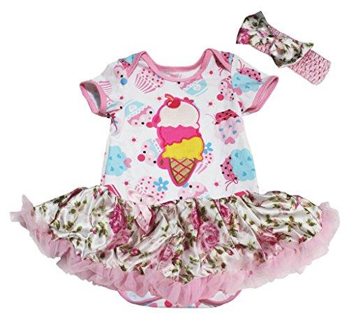 Petitebelle Birthday Dress Ice Cream Cupcake Bodysuit Rose Tutu Romper Nb-18m (12-18 Monat)