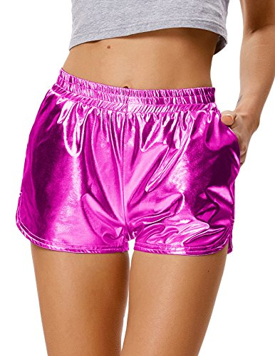 Damen Hosen Disco Kostüm - Kate Kasin Hot Pants Wet Look Festivals Glitter Shiny Shorts Disco Party für Damen (862-5) Small