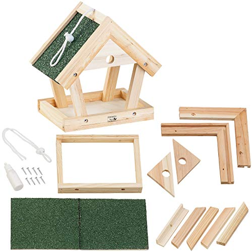 Royal Gardineer Vogelfutterhaus: Vogel-Futterhaus-Bausatz aus Echtholz, zum Aufhängen, 13-teilig (Vogelhaus Futterhaus)