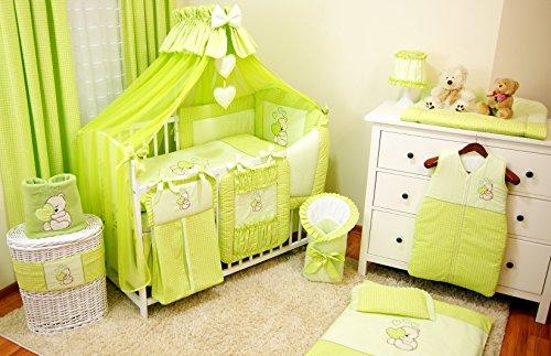 Baby-Bettwaren, Komplettset XXL,18-teilig, Bettwäsche, 100% Baumwolle mit Stickerei + Moskitonetz, mit Teddy/Bär besticktes Motiv für Mädchen oder Jungen. (Grün, 70x140cm) (Baby Mädchen Teddy-bettwäsche-set)