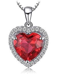JewelryPalace Colgante Corazón del Mar Amor Para Siempre Halo Collar Plata de ley 925 cadena de caja 45cm