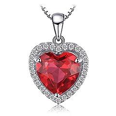 Idea Regalo - JewelryPalace Cuore Of Ocean 3.9ct Sintetico Rosso Rubino Amore Eterno Halo Pendente Collana 925 Sterling Argento 45cm