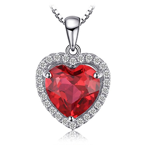 JewelryPalace Herz des Ozeans 3.9ct schuf rote karminrote Liebe für immer Halo Anhänger 925 Sterling Silber