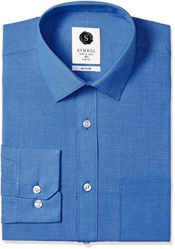 Symbol Men's Formal Fil-a-Fil Slim Fit Shirt (SYMFILAFIL39_42_Royal)