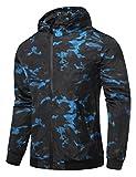HEMOON Herren Jacke Kapuzen Frühling Herbst Windbreaker Camouflage Casual Zip-Hoodie Sportswear Laufjacke Blau Medium
